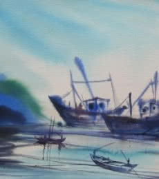 Seascape Watercolor Art Painting title 'Ocean moods 18' by artist Sunil Kale