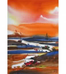 Seascape Watercolor Art Painting title 'Riverscape 1' by artist Sunil Kale