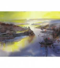Seascape Watercolor Art Painting title 'Riverscape 42' by artist Sunil Kale
