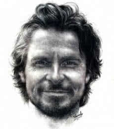 Portrait Pencil Art Drawing title 'Christian Bale' by artist Pranab Das