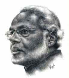 Portrait Pencil Art Drawing title 'Modi' by artist Pranab Das