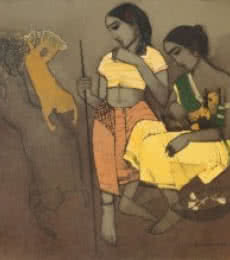 Figurative Acrylic Art Painting title 'Tribal Girls' by artist Siddharth Shingade