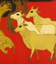 Siddharth Shingade Paintings | Acrylic Painting - Cows by artist Siddharth Shingade | ArtZolo.com