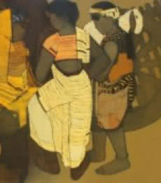 Figurative Acrylic Art Painting title 'Gossipping' by artist Siddharth Shingade