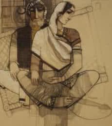 Figurative Acrylic Art Painting title 'Old Couple' by artist Siddharth Shingade