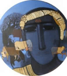 Figurative Acrylic Art Painting title 'Tribal Boy Round' by artist Siddharth Shingade