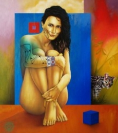 Figurative Mixed-media Art Painting title Golden Skin by artist Victor Crisostomo