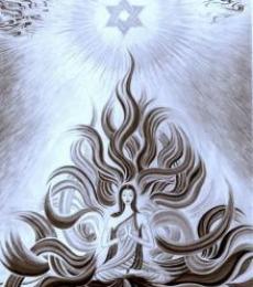 Meditation - B/W | Painting by artist Manju Lamba | oil | Canvas