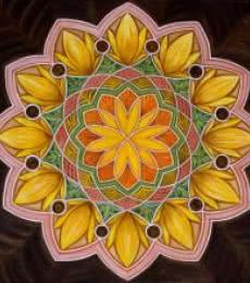 Motivational Acrylic Art Painting title Sunflower Mandala by artist Manju Lamba