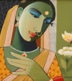 Figurative Acrylic Art Painting title Indian Woman I by artist Agacharya A