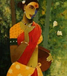 Agacharya A | Acrylic Painting title Indian Woman III on Canvas | Artist Agacharya A Gallery | ArtZolo.com