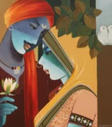 Figurative Acrylic Art Painting title 'Love II' by artist Agacharya A