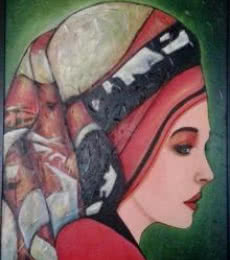 Figurative Oil Art Painting title 'East European Lady' by artist Parul V Mehta
