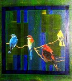 Four Birds | Painting by artist Parul V Mehta | mixed-media | Canvas