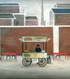 Figurative Oil Art Painting title 'Snack Cart' by artist Gulab Kapadiya