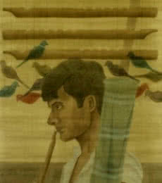 The Pied Piper | Painting by artist Gulab Kapadiya | watercolor | Paper