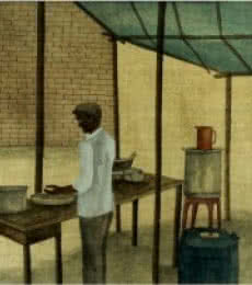Gulab Kapadiya | Watercolor Painting title The Food Stall on Paper | Artist Gulab Kapadiya Gallery | ArtZolo.com