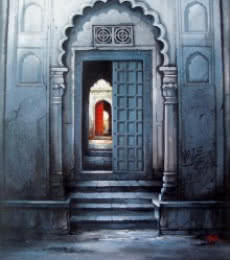 Ram Onkar | Mixed-media Painting title Indian Door on Canvas | Artist Ram Onkar Gallery | ArtZolo.com