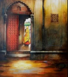 Figurative Mixed-media Art Painting title 'Indian Door II' by artist Ram Onkar