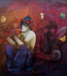 Ram Onkar | Mixed-media Painting title Krishna With Flute on Canvas | Artist Ram Onkar Gallery | ArtZolo.com