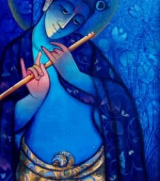 Ram Onkar | Mixed-media Painting title Krishna With Flute Blue on Canvas | Artist Ram Onkar Gallery | ArtZolo.com