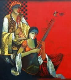 Musician Couple I | Painting by artist Ram Onkar | mixed-media | Canvas