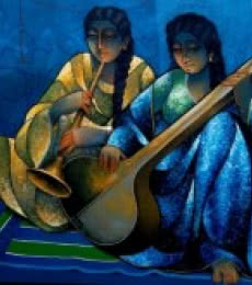 Ram Onkar | Mixed-media Painting title Saheli Playing Music on Canvas | Artist Ram Onkar Gallery | ArtZolo.com