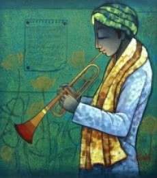 Musician I | Painting by artist Ram Onkar | mixed-media | Canvas