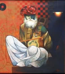 Ram Onkar | Mixed-media Painting title Old Musician on Canvas | Artist Ram Onkar Gallery | ArtZolo.com