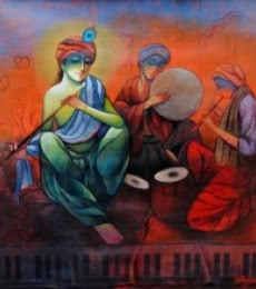 Figurative Mixed-media Art Painting title 'The Musicians' by artist Ram Onkar