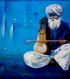 Figurative Acrylic Art Painting title Old Musician by artist Ram Onkar