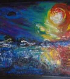 Expressionist Mixed-media Art Painting title Mystic Moon by artist Purnima Gupta
