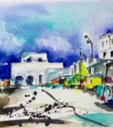 Cafe - promenade | Painting by artist Veronique Piaser-moyen | watercolor | Paper
