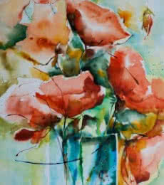 Still-life Watercolor Art Painting title 'Feux bengale' by artist Veronique Piaser-moyen