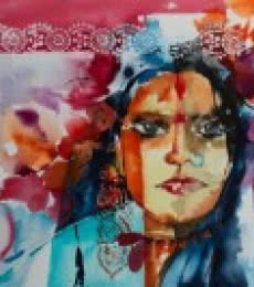 Portrait Watercolor Art Painting title 'Gypsy' by artist Veronique Piaser-moyen