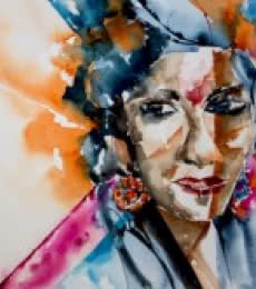 Veronique Piaser-moyen | Watercolor Painting title Indian lady on Paper | Artist Veronique Piaser-moyen Gallery | ArtZolo.com