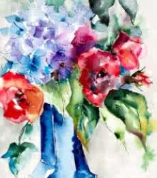 Still-life Watercolor Art Painting title 'Insolence en vase clos' by artist Veronique Piaser-moyen