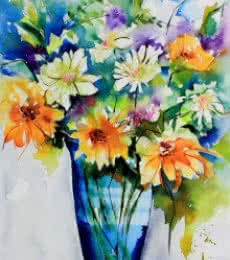 Still-life Watercolor Art Painting title 'Le temps des fleurs' by artist Veronique Piaser-moyen