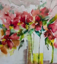 Still-life Watercolor Art Painting title 'Les marivaudages de Garance' by artist Veronique Piaser-moyen