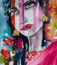 Portrait Watercolor Art Painting title 'Movie star' by artist Veronique Piaser-moyen