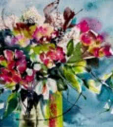 Still-life Watercolor Art Painting title 'Papillons' by artist Veronique Piaser-moyen