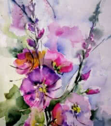 Passeroses | Painting by artist Veronique Piaser-moyen | watercolor | Paper