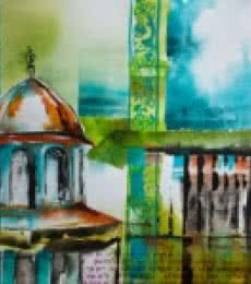 Veronique Piaser-moyen | Watercolor Painting title Vaithisvarankovil on Paper | Artist Veronique Piaser-moyen Gallery | ArtZolo.com