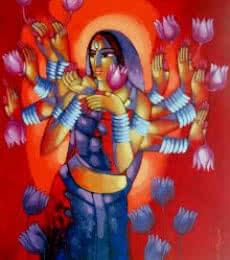 Figurative Acrylic Art Painting title 'Durga' by artist Sekhar Roy