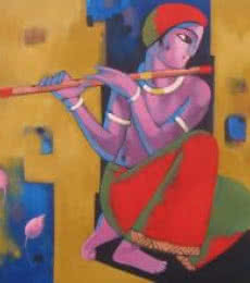 Fantasy Acrylic Art Painting title Krishna by artist Sekhar Roy