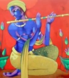 Figurative Acrylic Art Painting title 'Krishna' by artist Sekhar Roy