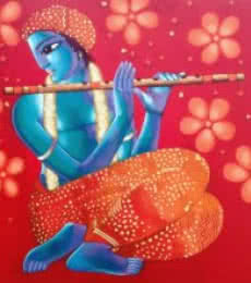 Figurative Acrylic Art Painting title 'Krishna 6' by artist Sekhar Roy