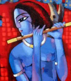 Figurative Acrylic Art Painting title 'Krishna I' by artist Sekhar Roy