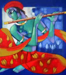 Figurative Acrylic Art Painting title 'Krishna II' by artist Sekhar Roy