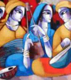 Figurative Acrylic Art Painting title Music VI by artist Sekhar Roy